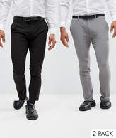 Asos 2 Pack Super Skinny Trousers In Black And Grey