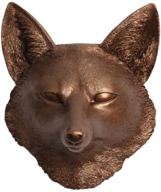 White Faux Taxidermy Faux Resin Fox Head Wall Mount, Bronze