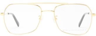 Stella McCartney Logo-engraved Aviator Metal Glasses - Gold