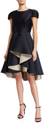 Halston Double Face Satin Twill Dramatic Skirt Dress