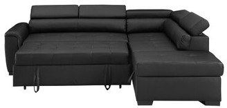 "Ebern Designs Kegan 95"" Right Hand Facing Sleeper Sectional with Ottoman Upholstery Color: Black"