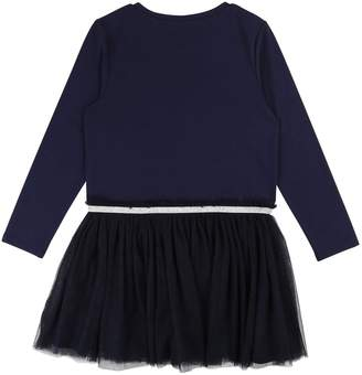 Billieblush Girls Pom Pom Mesh Tutu Dress - Navy