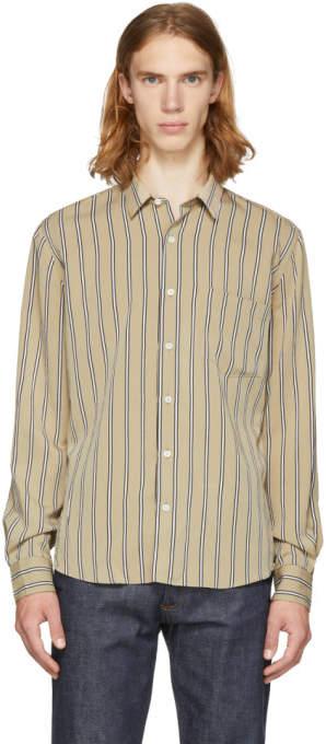 Ami Alexandre Mattiussi Beige and White Stripe Shirt