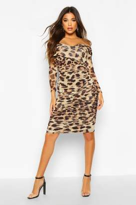 boohoo Leopard Off Shoulder Ruched Mesh Bodycon Midi Dress