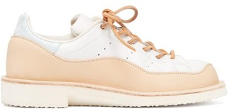Peterson Stoop - Wavey Recycled Leather Trainers - Womens - Tan White
