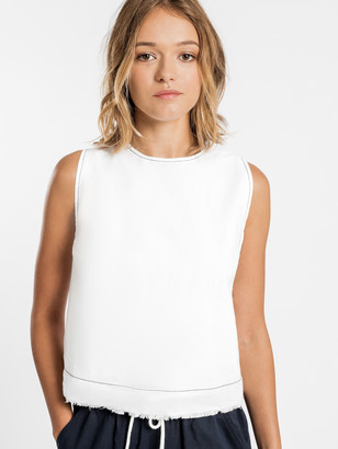 Nude Lucy Grace Contrast Stitch Top in White