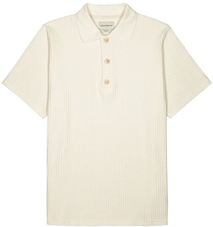 Oliver Spencer Tabley Cream Waffle-knit Polo Shirt