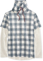 American Rag Men's Check-Print Funnel-Neck Shirt, Only at Macy's