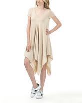 Nude V-Neck Handkerchief Shift Dress