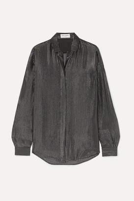 Saint Laurent Striped Metallic Fil Coupe Silk-blend Chiffon Shirt - Black