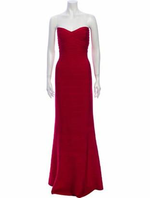 Herve Leger Strapless Long Dress Red