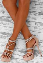 Pink Boutique VIP Vixen Nude Diamante Platform Stiletto Heels