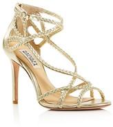 Badgley Mischka Crystal Braided Strappy High Heel Sandals
