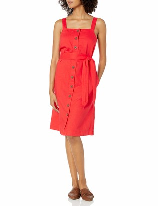 Goodthreads Amazon Brand Women's Washed Linen Blend Apron Dress with Pockets
