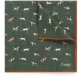 Drakes Drake ' S Dog print wool-silk pocket square