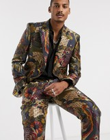 Asos Edition ASOS EDITION slim suit jacket in all over large scale jacquard design in black