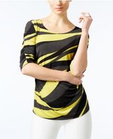 Alfani Petite Printed Ruched Top, Only at Macy's