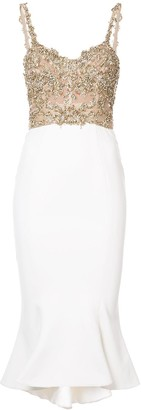 Marchesa Beaded Peplum Dress