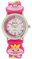 Ravel Girls-Kids 3D Little Miss Piggy Time Teacher White Dial Watch R1513.63