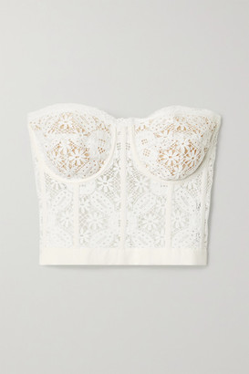 Alexander McQueen Cotton-blend Guipure Lace Bustier Top - White
