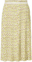 Tomas Maier Pleated Printed Stretch-cady Midi Skirt - Chartreuse