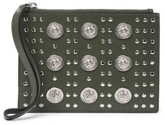 Versace Grommet Leather Stud Pouch
