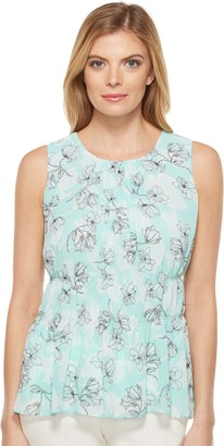 Ellen Tracy Women's Printed Shirred Shell