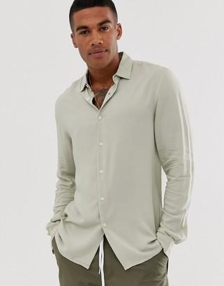 Asos Design DESIGN regular fit viscose shirt in ecru-Cream