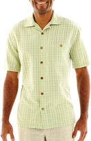 JCPenney Island Shores Tropical Tonal Plaid Shirt