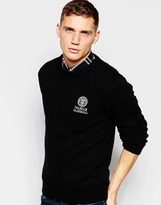 Franklin & Marshall Lambswool Knitted Crew Neck Jumper - Black