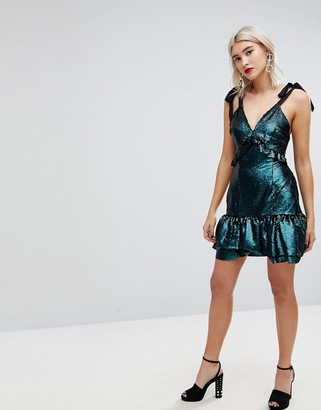 Lost Ink Dress With Ribbon Tie Sleeves And Ruffles In Sequin