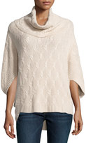 Neiman Marcus Cashmere-Blend Cable Poncho, Tan