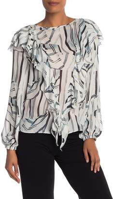 Nicole Miller Long Sleeve Front Knot Print Silk Blouse