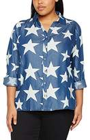 Ulla Popken Women's Hemdbluse Denimoptik Mit Sternenprint Shirt