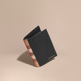 Burberry Leather And House Check Passport And Card Holder, Black