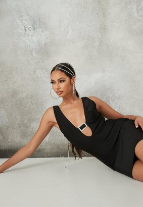 Missguided Black Diamante Buckle Bandage Mini Dress