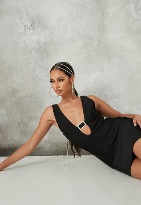 Missguided Tall Black Diamante Buckle Bandage Mini Dress