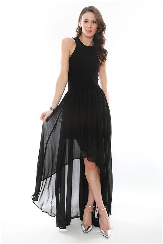 Torn By Ronny Kobo Renea Knit Chiffon Dress in Black