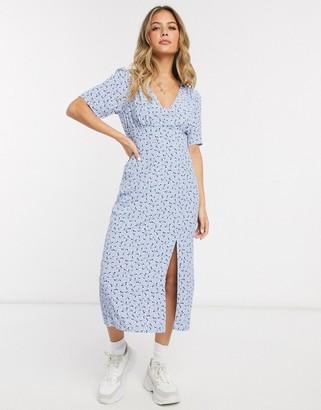 Miss Selfridge midi tea dress in blue floral