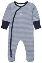 Absorba Navy Stripe Babygrow with Scratch Mits
