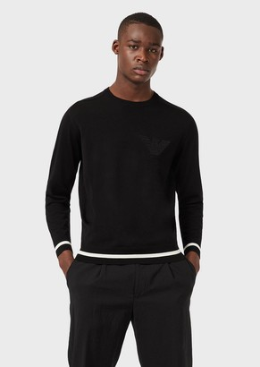 Emporio Armani Mixed Virgin-Wool Sweater With Embroidered Logo