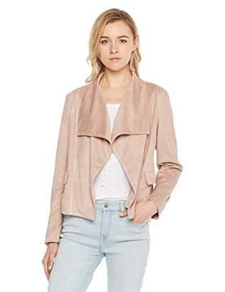 MEHEPBURN Womens Suede Leather Jacket Open Front Lapel Cardigan Blazer Jackets M