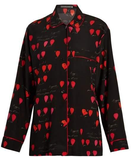 Alexander McQueen Heart Print Piped Edge Crepe Shirt - Womens - Black Print