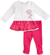 Petit Lem Pink Flower Lace Tunic & Bow-Hem Leggings - Infant