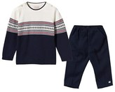 Emile et Rose Cream and Navy Fairisle Knit Jumper and Ribbed Trouser Set
