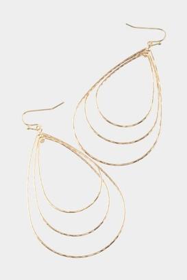 francesca's Alana Layered Teardrop Earrings - Gold