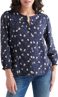 Lucky Brand Floral Print Button-Up Blouse