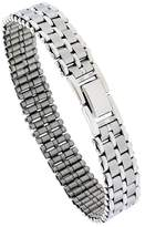 Sabrina Silver Stainless Steel Basket Weave Bracelet For Men, 8 inch long