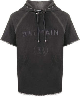 Balmain logo print hooded top