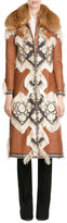 Alexander McQueen Embroidered Leather Coat with Fox Fur